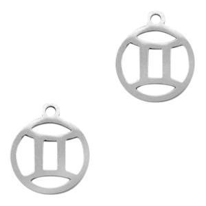 Bedel / hanger sterrenbeeld tweeling zilver stainless steel 13x11mm (Ø1.5mm)