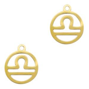 Bedel / hanger sterrenbeeld weegschaal goud stainless steel 13x11mm (Ø1.5mm)