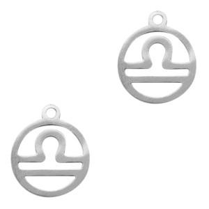Bedel / hanger sterrenbeeld weegschaal zilver stainless steel 13x11mm (Ø1.5mm)