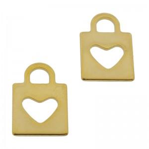 Bedel hart hangslot stainless steel gouden 16mm