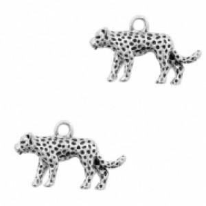 Bedel luipaard 24x15mm zilver