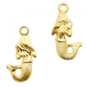 Bedel mermaid 22x12mm goud