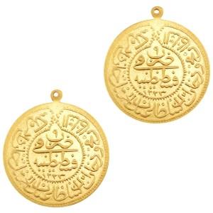 Bedel oosterse munt 34x30mm matt goud