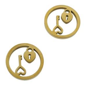 Bedel open circle hartjesslot met sleutel goud stainless steel 12mm