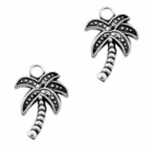 Bedel palmboom 16x13mm zilver