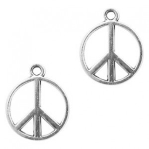 Bedel peace 17x14mm zilver