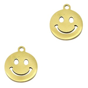 Bedel smiley rond stainless steel goud 12mm
