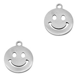 bedel-smiley-rond-stainless-steel-zilver-12mm