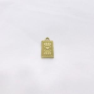 Bedel tag hartje voorkant goud 19x10mm