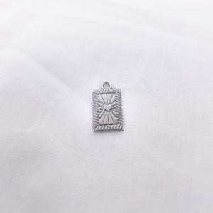 Bedel tag hartje voorkant zilver 19x10mm