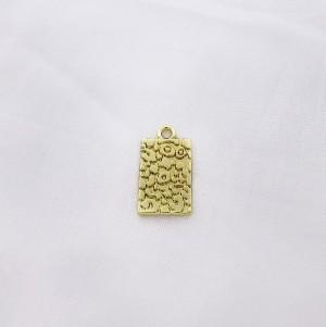 Bedel tag luipaard print goud 19x10mm