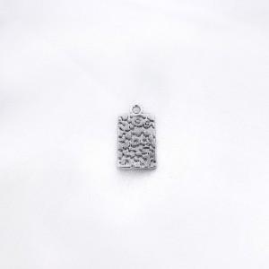 Bedel tag luipaard print zilver19x10mm