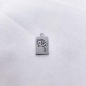 Bedel tag roos voorkant zilver 19x10mm