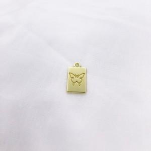 Bedel tag vlinder voorkant goud 19x10mm
