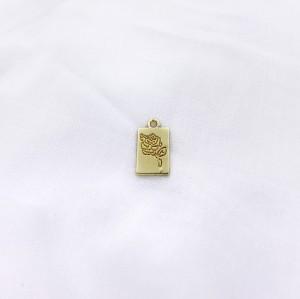 Bedel tag roos voorkant goud 19x10mm