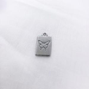 Bedel tag vlinder voorkant zilver 18x10mm
