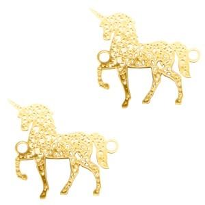 Bedel tussenstuk bohemian unicorn goud 20x19mm