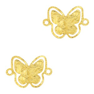 Bedel / tussenstuk bohemian vlinder goud 12x8mm