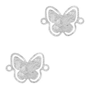 Bedel / tussenstuk bohemian vlinder zilver 12x8mm