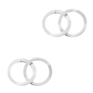 Bedel tussenzetsel double circle zilver stainless steel (RVS) 2x15mm