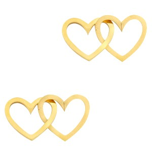 Bedel tussenzetsel double heart goud stainless steel (RVS) 2x15mm