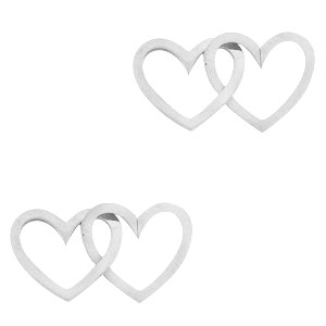 Bedel tussenzetsel double heart zilver stainless steel (RVS) 2x15mm