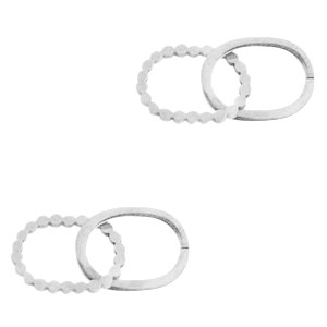 Bedel tussenzetsel double oval zilver stainless steel (RVS) 2x15mm