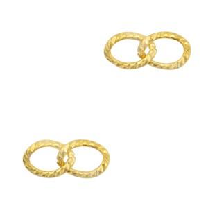 Bedel tussenzetsel dubbele schakel oval goud stainless steel (RVS) 14x6mm