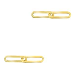 Bedel tussenzetsel dubbele schakel oval goud stainless steel (RVS) 25x4mm