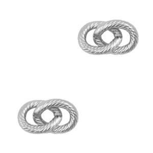 Bedel tussenzetsel dubbele schakel oval zilver stainless steel (RVS) 13x7mm