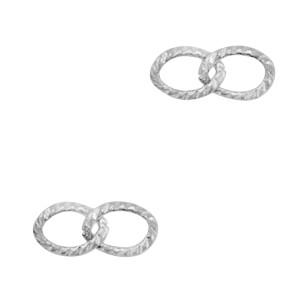 Bedel tussenzetsel dubbele schakel oval zilver stainless steel (RVS) 14x6mm