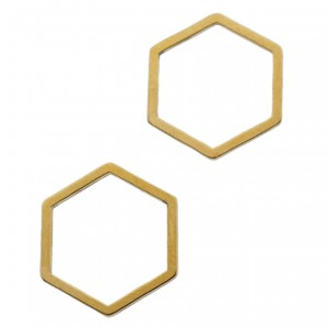 Bedel tussenzetsel hexagon goud stainless steel (RVS) 13.5x12mm