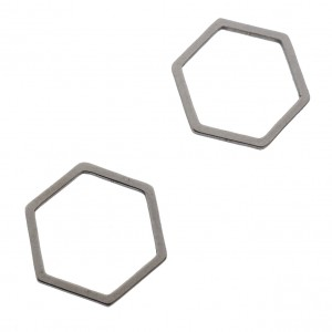 Bedel tussenzetsel hexagon zilver stainless steel (RVS) 13.5x12mm