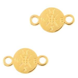 Bedel tussenzetsel kompas goud 16x9mm