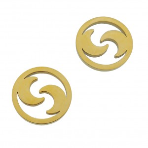 Bedel open circle moons goud stainless steel 12mm