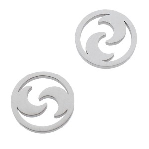Bedel open circle moons zilver stainless steel 12mm