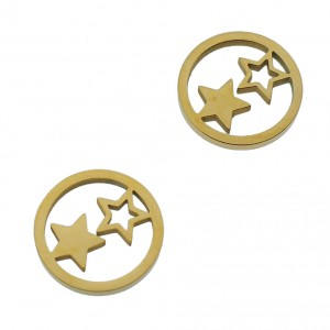 Bedel open circle stars goud stainless steel 12mm
