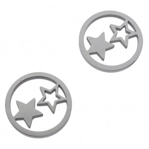 Bedel open circle stars zilver stainless steel 12mm