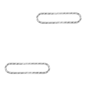 Bedel tussenzetsel oval zilver stainless steel (RVS) 21x5mm
