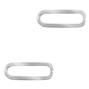 Bedel tussenzetsel oval zilver stainless steel (RVS) 23x8mm