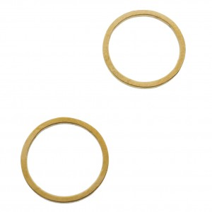 Bedel tussenzetsel rond goud stainless steel (RVS) 12mm