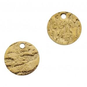 Bedel tussenzetsel round bewerkt goud stainless steel 10mm