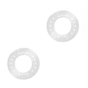 Bedel tussenzetsel round love zilver stainless steel (RVS) 15mm