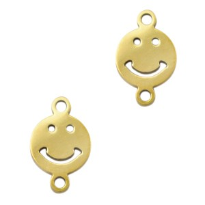 Bedel tussenzetsel smiley goud stainless steel 11mm