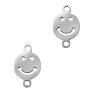 Bedel tussenzetsel smiley zilver stainless steel 11mm