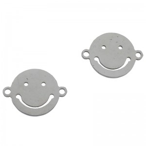 Bedel tussenzetsel smiley zilver stainless steel 16mm