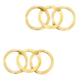 Bedel tussenzetsel triple circle goud stainless steel (RVS) 3x15mm