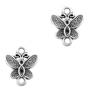 Bedel tussenzetsel vlinder zilver 14x11mm