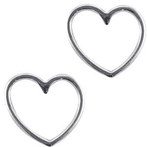 Bedel tussenzetsel zilver DQ hartje 15x16mm