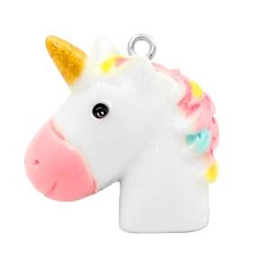 Bedel unicorn white rainbow pink 25x24mm